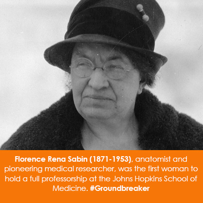 Florence Rena Sabin (1871-1953), anatomist and pioneering medical researcher, was the first woman to hold a full professorship at the Johns Hopkins School of Medicine.