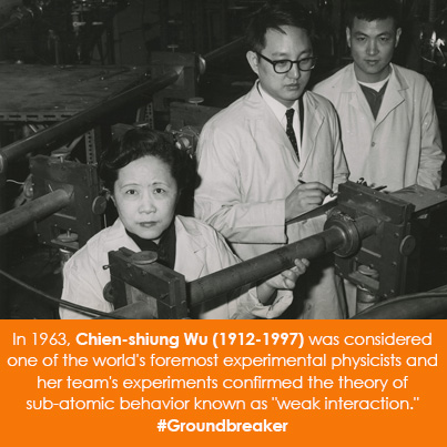 "In 1963, Chien-shiung Wu (1912-1997 was considered one of the world's foremost experimental physicists and her team's experiments confirmed the theory of sub-atomic behavior known as ""weak interaction."""