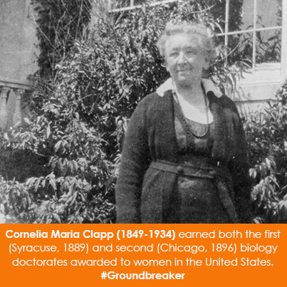 Cornelia Maria Clapp (1849-1934) earned both the first (Syracuse, 1889) and second (Chicago, 1896) b