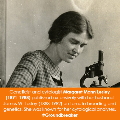 Geneticist and cytologist Margaret Mann Lesley (1891-1988) published extensively with her husband Ja