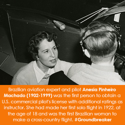 Brazilian aviation expert and pilot Anesia Pinheiro Machado (1902-1999) was the first person to obta