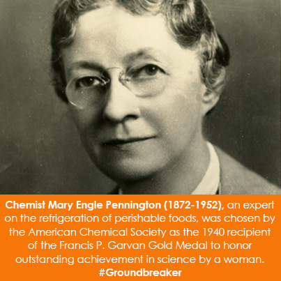 Chemist Mary Engle Pennington (1872-1952), an expert on the refrigeration of perishable foods, was c