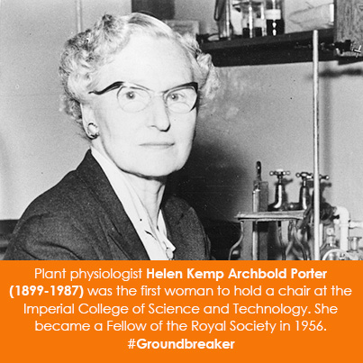 Plant physiologist Helen Kemp Archbold Porter (1899-1987) was the first woman to hold a chair at the