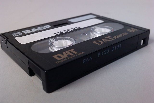 BASF DAT Digital Audio Tape, by windthoek, https://www.flickr.com/photos/windthoek/5264421688/.