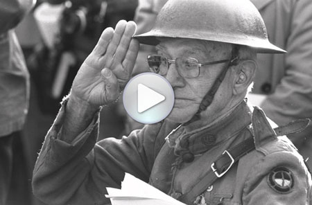 [World War I Veteran Joe Ambrose salutes during the 1982 Vietnam Veterans Memorial dedication ceremonies, November 13, 1982, by Dane Penland, Photographic negative, Smithsonian Institution Archives, Negative Number: 82-13689-32.]