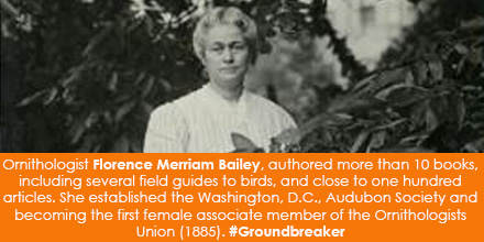 Ornithologist Florence Merriam Bailey (1863-1948), authored over ten books, including several field