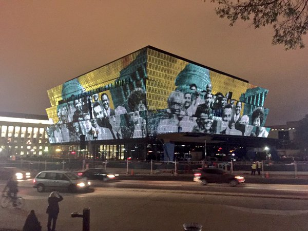 """Commemorate and Celebrate Freedom"" Projection Mapping on the Smithsonian's National Museum of African American History & Culture, November 2016."