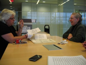(From left to right) Linda Goodwin Eisenstadt and Historian, Marcel Chotkowski LaFollette, discuss E