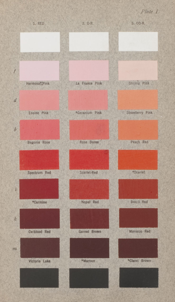 Caption Plate I from Robert Ridgeway's Color Standards and Color Nomenclature displays red hues. (MI