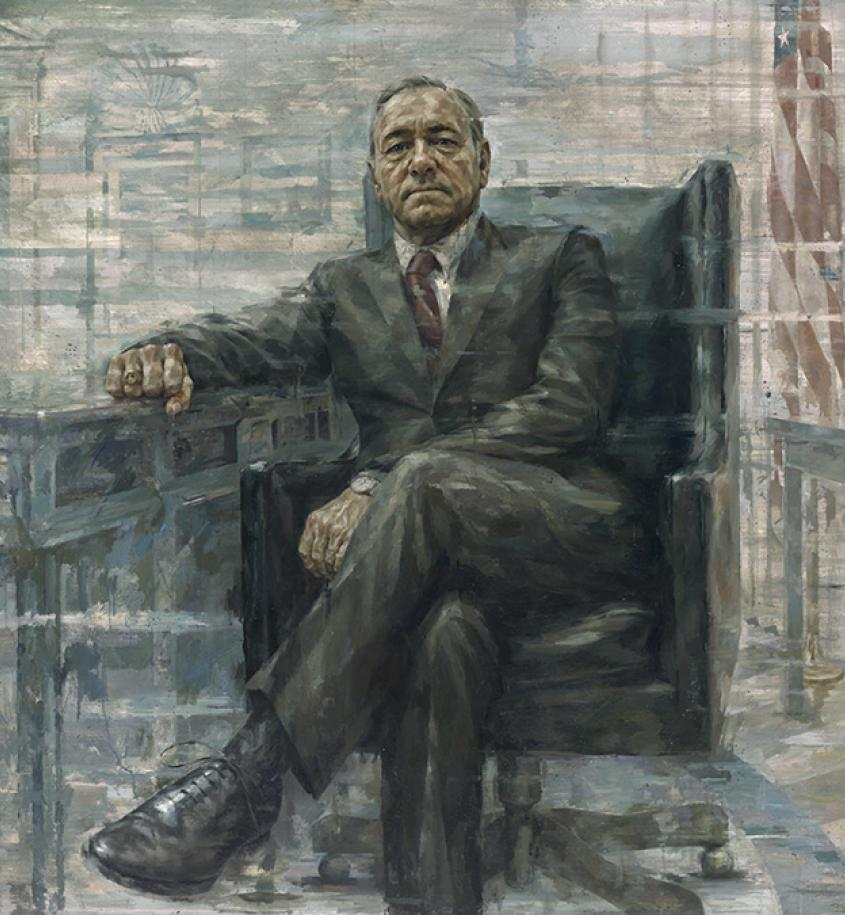 Kevin Spacey as President Francis J. Underwood (detail) by Jonathan Yeo / Oil on canvas, 2015 / Coll