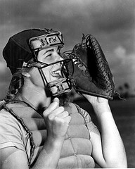 Dottie Schroeder, catcher, shouting play ball behind mask, State Archives of Florida