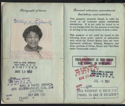Ella Fitzgerald's passport, by Unidentified photographer, 1959, National Museum of American History, Behring Center, Archives Center.