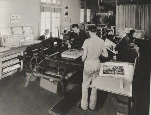 The WPA's Federal Art Project Print Department in Los Angeles, California, circa 1940. Ferdinand Perret research material on California art and artists, 1769–1942. Archives of American Art.