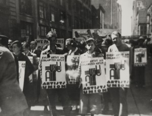 Artists' Union Rally, ca. 1935. From left to right:  Edward