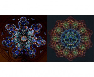 Lower Rose Window, Cathedral of St. John the Divine, New York City, October 2009, by Bernardo Núñez, Digital photograph, © Bernardo Núñez / Cathedral of St. John the Divine, New York City (left); B-DNA, seen end-on, courtesy of Dr. Robert Langridge (right).