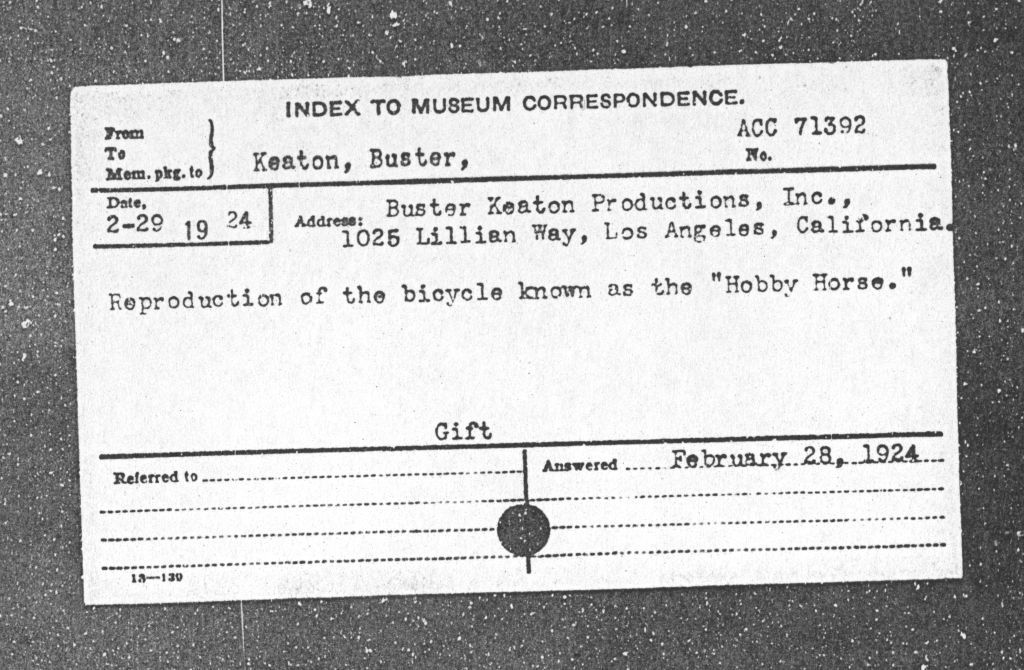 Donor card for Buster Keaton: Smithsonian Institution Archives, Record Unit 305, Accession Number: 71392, SIA 2010-1411.