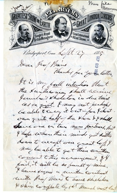 Letter from P.T. Barnum to Spencer F. Baird (click to enlarge), September 27, 1885, Smithsonian Institution Archives, Record Unit 192, Box 637, Folder 209237, SIA2010-1594.