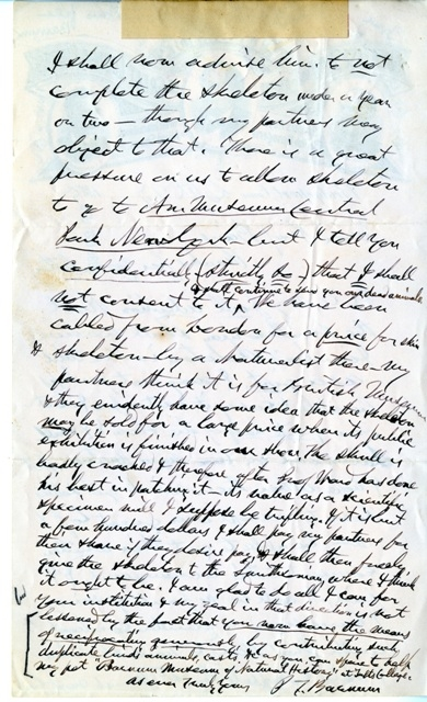 Letter from P.T. Barnum to Spencer F. Baird (click to enlarge), September 27, 1885, Smithsonian Institution Archives, Record Unit 192, Box 637, Folder 209237, SIA2010-1595.