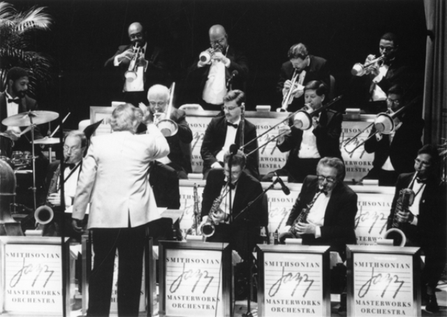 Musical director Gunther Schuller conducts members of the Smithsonian Jazz Masterworks Orchestra in