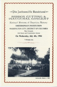 Cover of the program for the ribbon cutting and inaugural concert at the Jacksonville Bandstand on July 4, 1984, Smithsonian Institution Archives, Record Unit 584, Box 19, Negative Number: SIA2010-3384.
