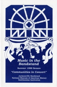 "Cover of the program for ""Music in the Bandstand,"" Summer 1988 Season, ""Communities in Concert,"" Smithsonian Institution Archives, Record Unit 584, Box 41, Negative Number: SIA2010-3386."