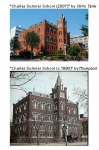 "An example of a successful Then and Now DC comparison by Pixel Wrangler, of ""Charles Sumner School (2007),"" by Chris Tank (top), and ""Charles Sumner School (c.1890),"" DC Public Library Commons (bottom)."
