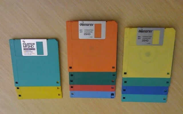 A rainbow of floppy diskettes. It is difficult to find current PCs with 3.5-inch drives to read these.