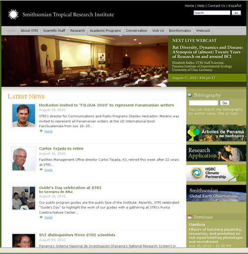 The Smithsonian Tropical Research Institute 2010 homepage, SIA Accession 10-125.