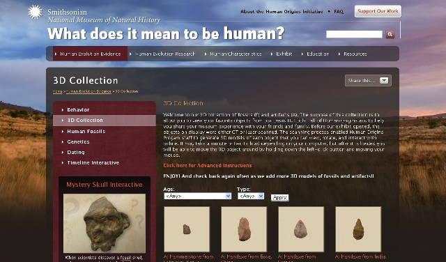 The National Museum of Natural History's Human Origins website, with an interactive 3D collection.