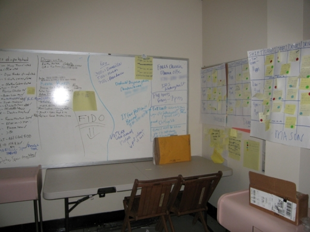 Whiteboard in its original location at the Obama Northern Virginia campaign office (NMAAHC TR2008-28.1). Courtesy of Michèle Gates Moresi. (some pixels intentionally blurred).