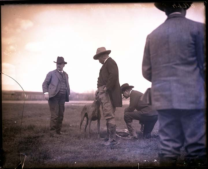 Theodore Roosevelt and group of unidentified men on a journey in the American West, date unknown, unidentified photographer, wet collodion negative, Smithsonian Institution Archives, Negative Number:  MAH-49710.