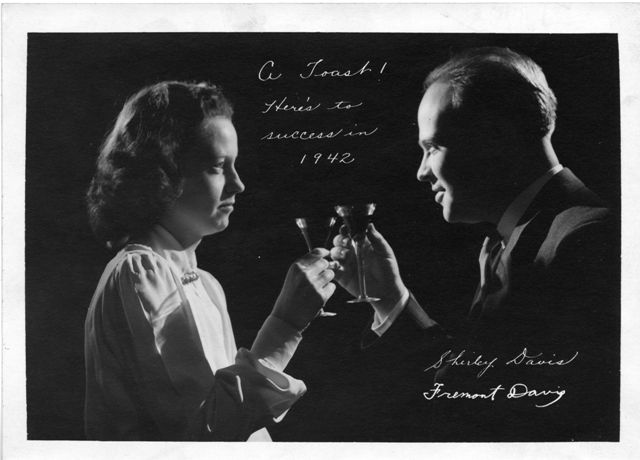 The 1942 holiday card of Shirley T. Davis (ca. 1918-1983) and Fremont Davis (1915-1977), the official photographer for Science Service, Photograph by Fremont Davis, Smithsonian Institution Archives, Accession 90-105,  SIA2008-0884.