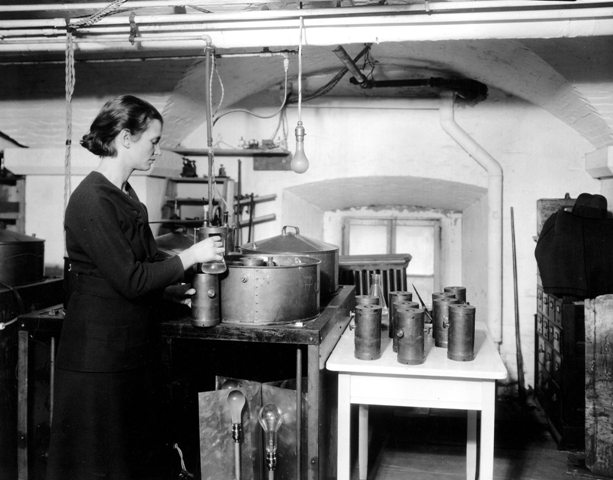 <p>Florence E. Meier at work at the Radiation Biology Laboratory in the basement of the Smithsonian
