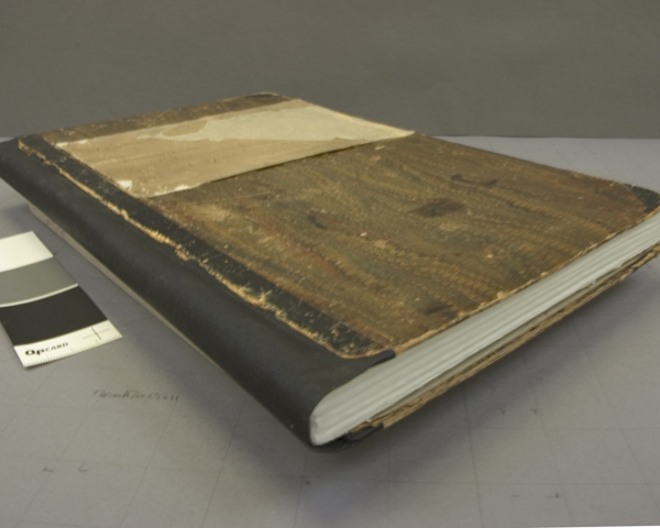 The manuscript cover after treatment, with a facsimile textblock insert, It was decided to keep the folio gatherings better supported in archival folders and more accessible for storage and exhibition, Courtesy Nora Lockshin and Anacostia Community Museum.
