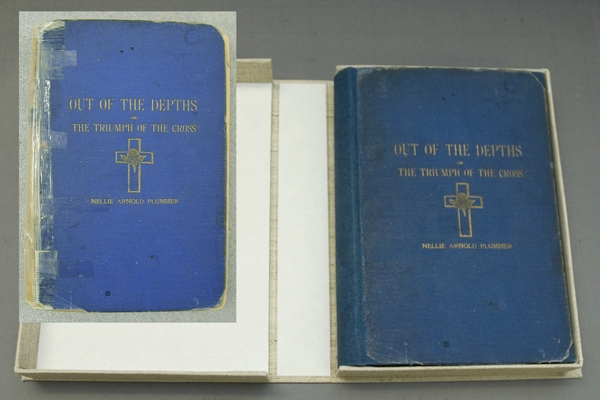 Out of The Depths, or, the Triumph of the Cross by Nellie Arnold Plummer. AHC 2003.0025.1, in its custom clamshell box after full conservation (inset: before treatment condition), Courtesy Nora Lockshin and Anacostia Community Museum.