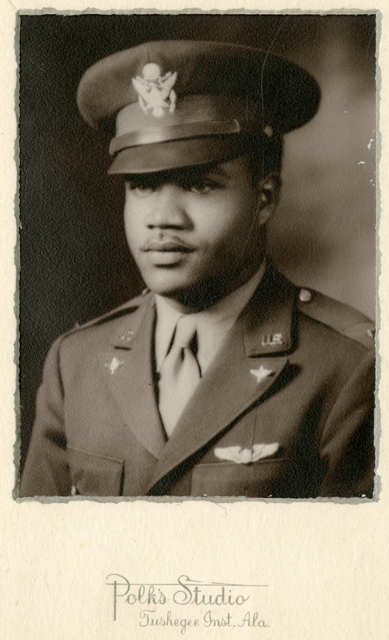Louis R. Purnell wearing his U.S. Airman uniform at the Tuskeege Institute, c. 1942, by Polk's Studi