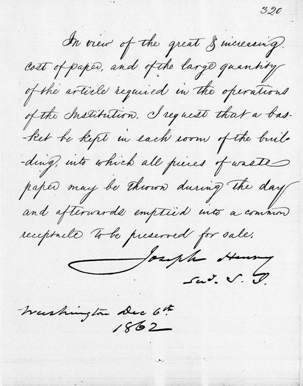 1862 memo from Secretary Joseph Henry requesting staff to collect waste paper (click to enlarge), Letters Received, 1847 and 1859-1867, Correspondence of the Meteorological Division of the Smithsonian Institution, RG27: Records of the Weather Bureau, National Archives and Records Administration.
