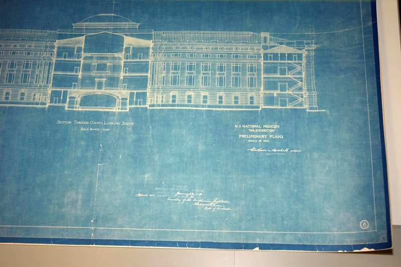 Blueprint of the U.S. National Museum (Now the Arts & Industries building. Click to enlarge.), 1904,