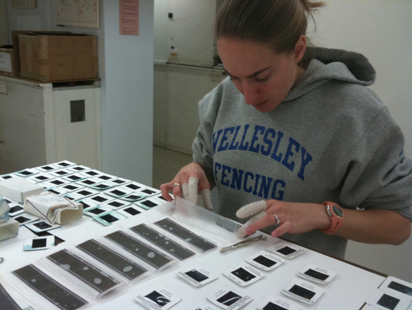 Postgraduate Fellow Anna Friedman releases wet negatives from sleeves holding water. Photo courtesy