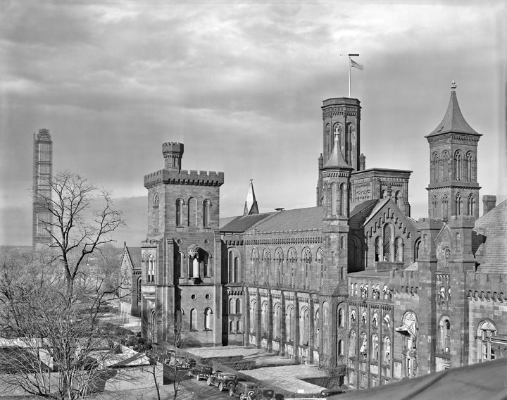 Smithsonian Institution Castle and Washington Monument during the 1934 renovation, 1934, by Gurney Ivey Hightower,  Photographic negative, Smithsonian Institution Archives, Negative Number MAH-32383.