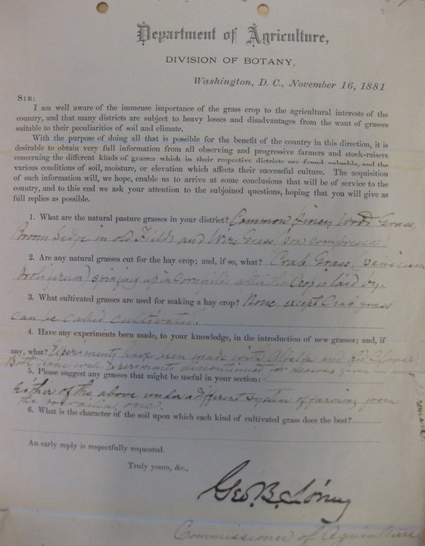 Image of USDA Circular (click to enlarge), November 16, 1881, Document, Smithsonian Institution Arch
