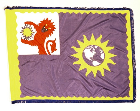 Official Smithsonian Institution flag with sun burst and lion motif, 1971, by Jack Scott, Photographic negative, Smithsonian Institution Archives, Negative Number: 71-1886.