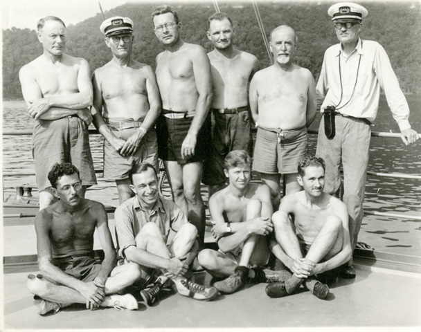 Members of the 1934 expedition: Captain Allan Hancock, standing, second from left, Waldo Schmitt (standing, third from left). Other participants included Dr. R.W. Kraft, ship's surgeon; W. Charles Swett, chief officer and photomicrographer;  John Garth & Fred Ziesenhenne, University of Southern California grad students;  Louis Filley, photographer; Arthur Jensen & Sterling Smith, reptile collectors; and Bartley Hunt and Raymond Elliott, small mammal and bird collectors, Smithsonian Institution Archives, Waldo L. Schmitt Papers, Record Unit 7231, Box 89, Image #SIA2011-0771.
