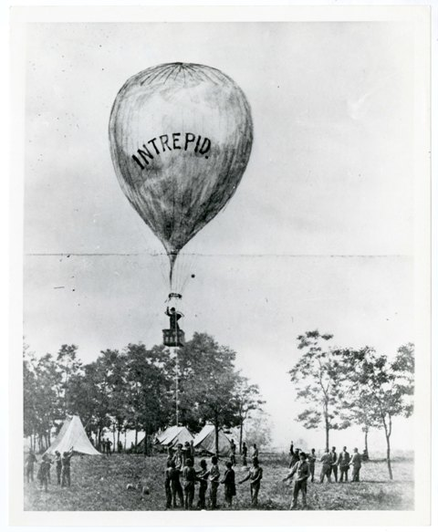 Thaddeus Lowe's balloon experiment, with crowd watching, c. 1863, by Unidentified photographer, Smit