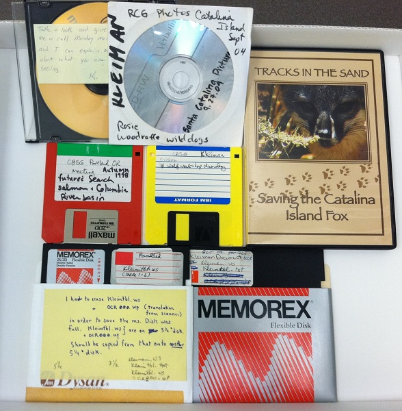 "Examples of the media formats that hold the electronic records in 11-124. Clockwise from bottom:  5.25"" floppy disks, 3.5"" floppy disks, CDs in a jewel case and paper sleeve, a DVD about a conservation project Kleiman was involved in. The 5.25"" floppies contain notes with file lists, including a note describing what files had to be erased on the diskette before she could save her work on another file, Author's photograph."