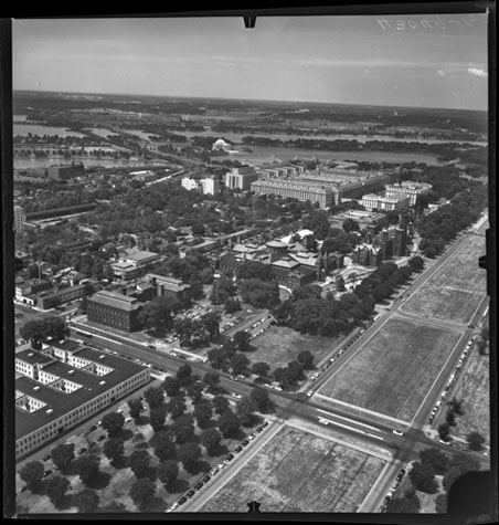 Aerial view of the National Mall and surrounding areas, July 14, 1954, by Unidentified photographer, Photographic negative, Smithsonian Institution Archives, Negative Number: MAH-43049A.