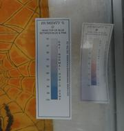 This close-up of a salt-type humidity indicator shows the difference in relative humidity between th