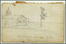 "Inside cover of William Healey Dall's expedition notebook with his drawing, ""Fir"