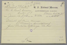 Accession 41108 Accession Card, Record Unit 305, Smithsonian Institution Archives.