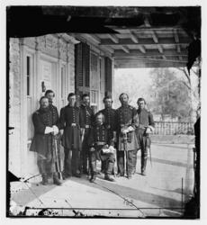 General Isaac Stevens and staff in Beaufort, 1862. Photo by Timothy O'Sullivan. Library of Congress.